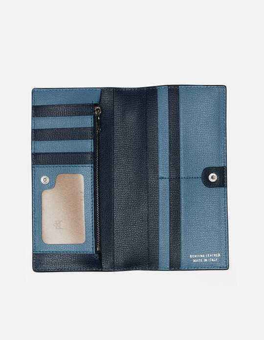 Vertical credit card holder withcoin case and zip Cloud C.ZUCCHERO  NAVY Cuoieria Fiorentina