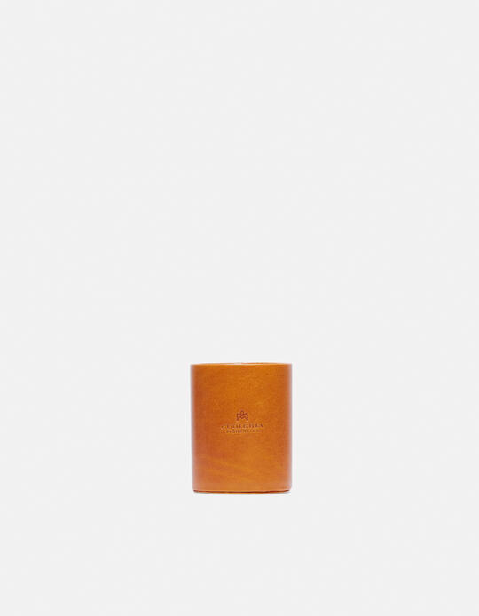 Round pen holder in vegetable tanned leather GIALLO Cuoieria Fiorentina