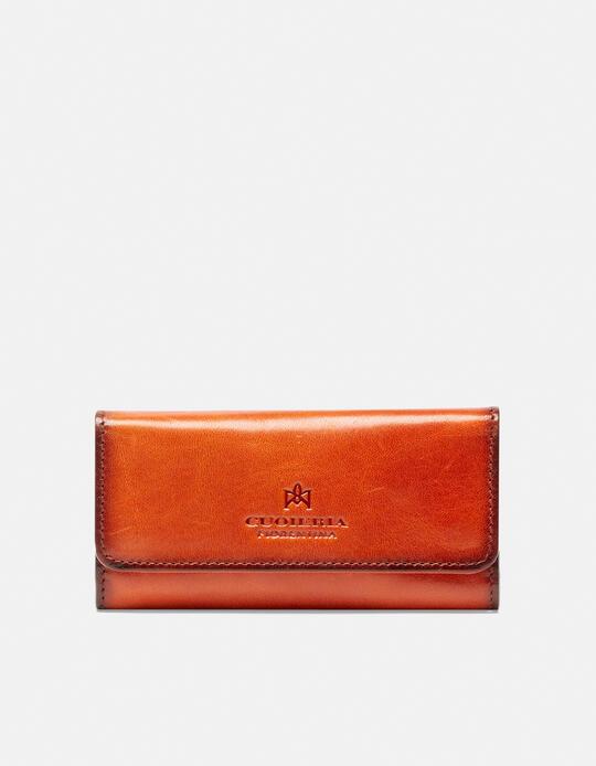 Warm and leather book keyring in leather ARANCIO Cuoieria Fiorentina