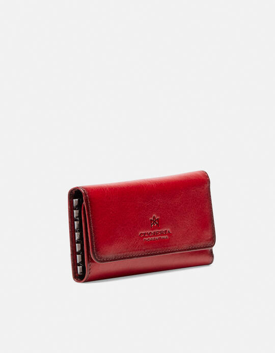 Warm and leather book keyring in leather ROSSO Cuoieria Fiorentina