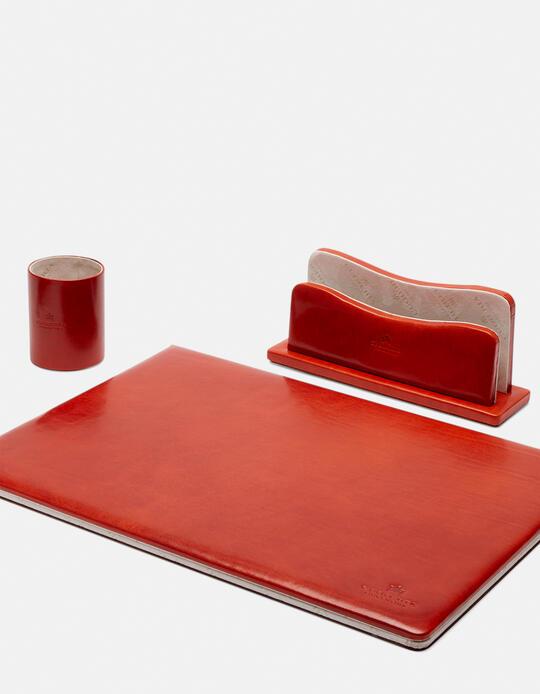 Complete desk set in vegetable leather ARANCIO Cuoieria Fiorentina