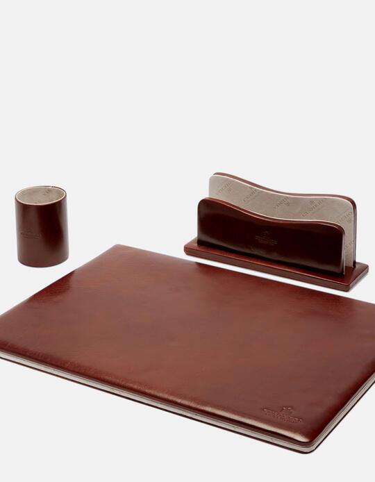 Complete desk set in vegetable leather MARRONE Cuoieria Fiorentina