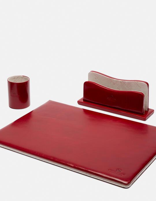 Complete desk set in vegetable leather ROSSO Cuoieria Fiorentina