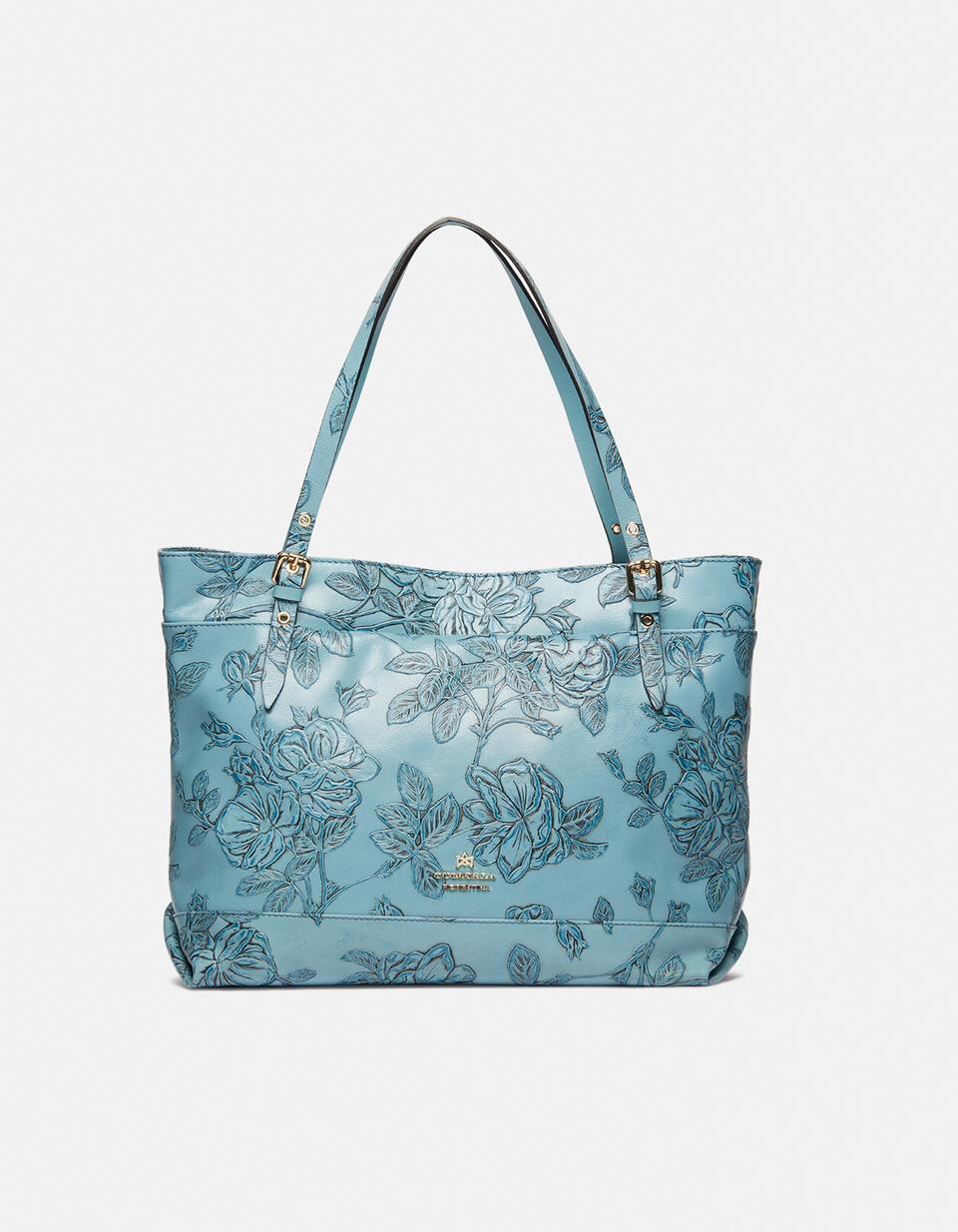 Big Mimì shopping bag keystone design Mimì CELESTE Cuoieria Fiorentina
