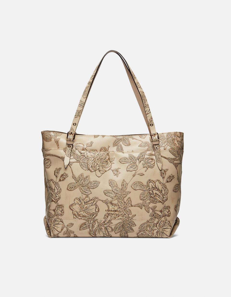 Big Mimì shopping bag keystone design Mimì TAUPE Cuoieria Fiorentina