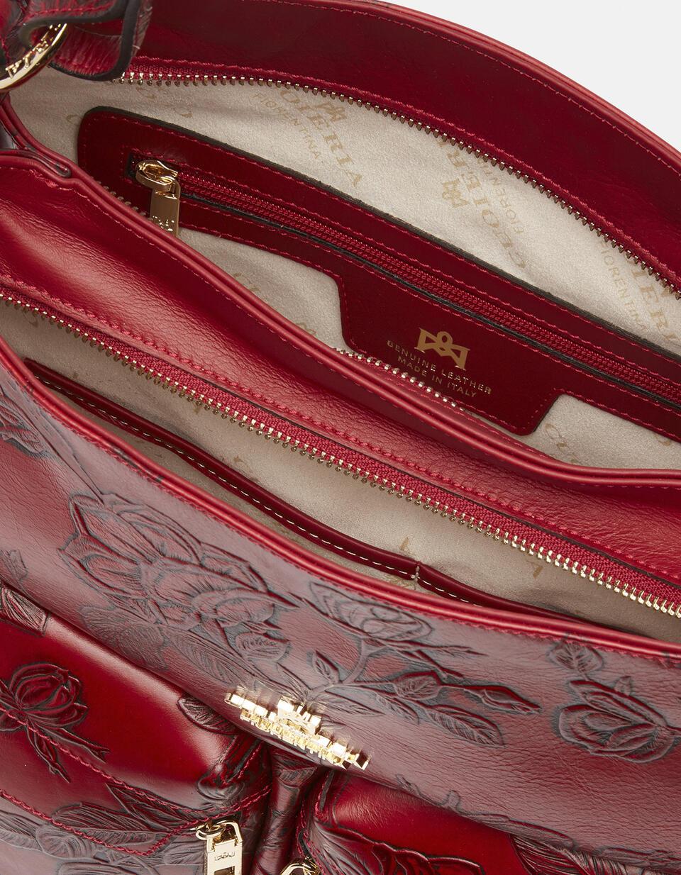Mimi borsa a sacca grande con tracolla estensibile ROSSO Cuoieria Fiorentina
