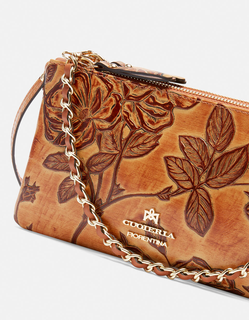 Double clutch bag in rose embossed printed leather Mimì BEIGE Cuoieria Fiorentina