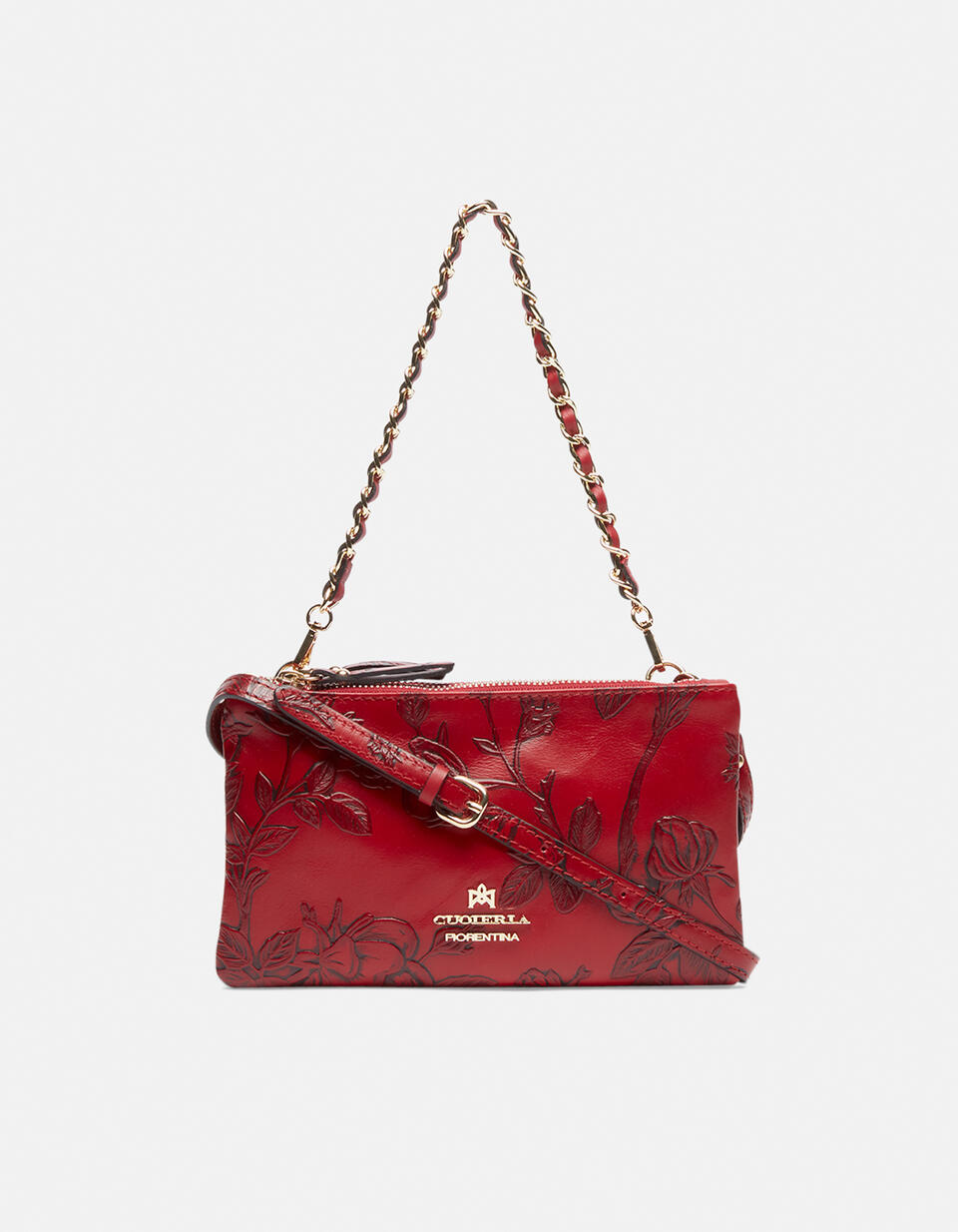 Double clutch bag in rose embossed printed leather ROSSO Cuoieria Fiorentina