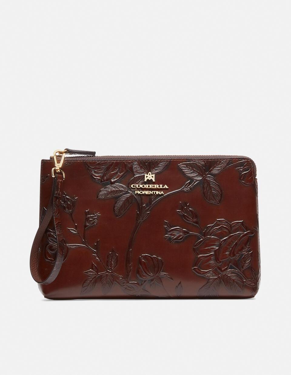 Elegant Mimì pochette in rose embossed printed calf leather Mimì MOGANO Cuoieria Fiorentina