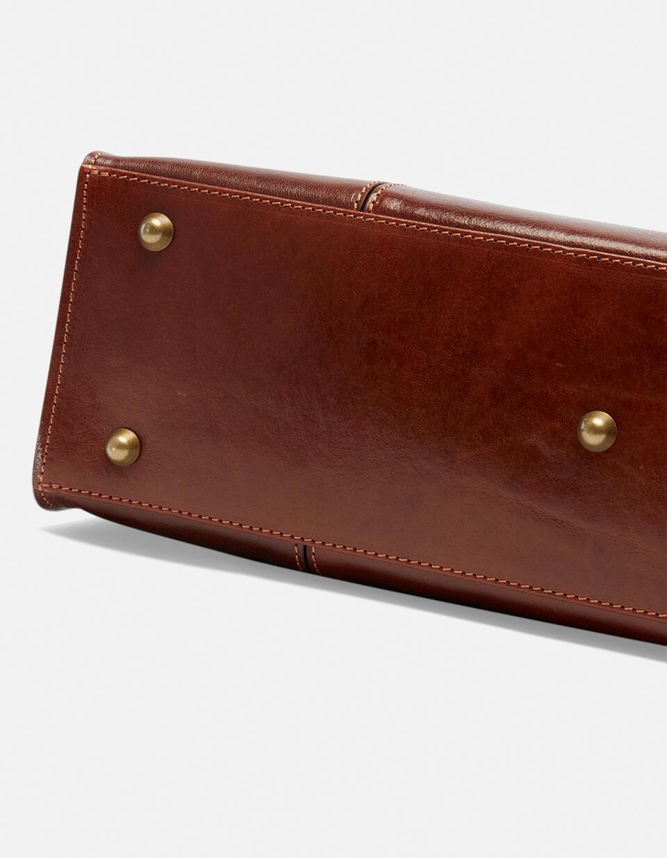 Medium leather shopping bag with adjustable buckle handles MARRONE Cuoieria Fiorentina