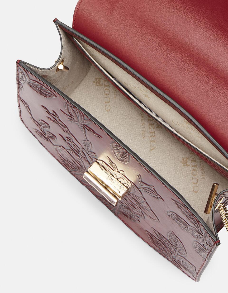 Mimi big crossbodyclutch con tracolla in pelle e metallo ROSSO Cuoieria Fiorentina