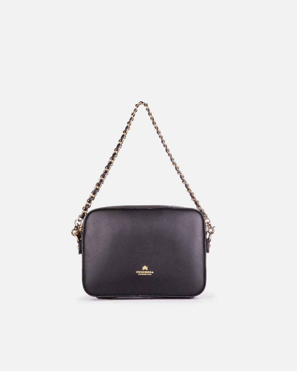 Bella clutch bag con tracolla in pelle e metallo NERO Cuoieria Fiorentina