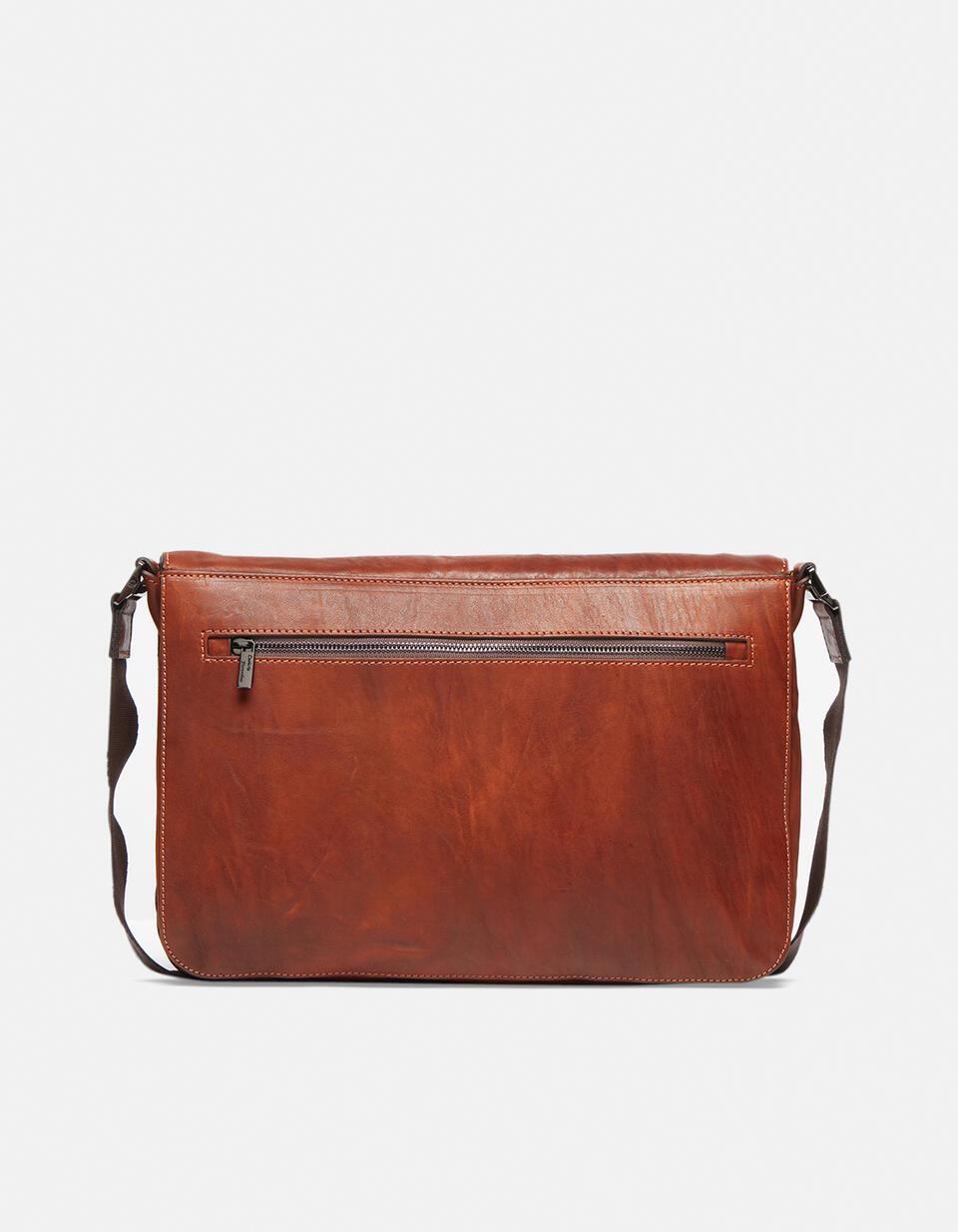 Bourbon leather large messenger bag in delavé leather MARRONE Cuoieria Fiorentina