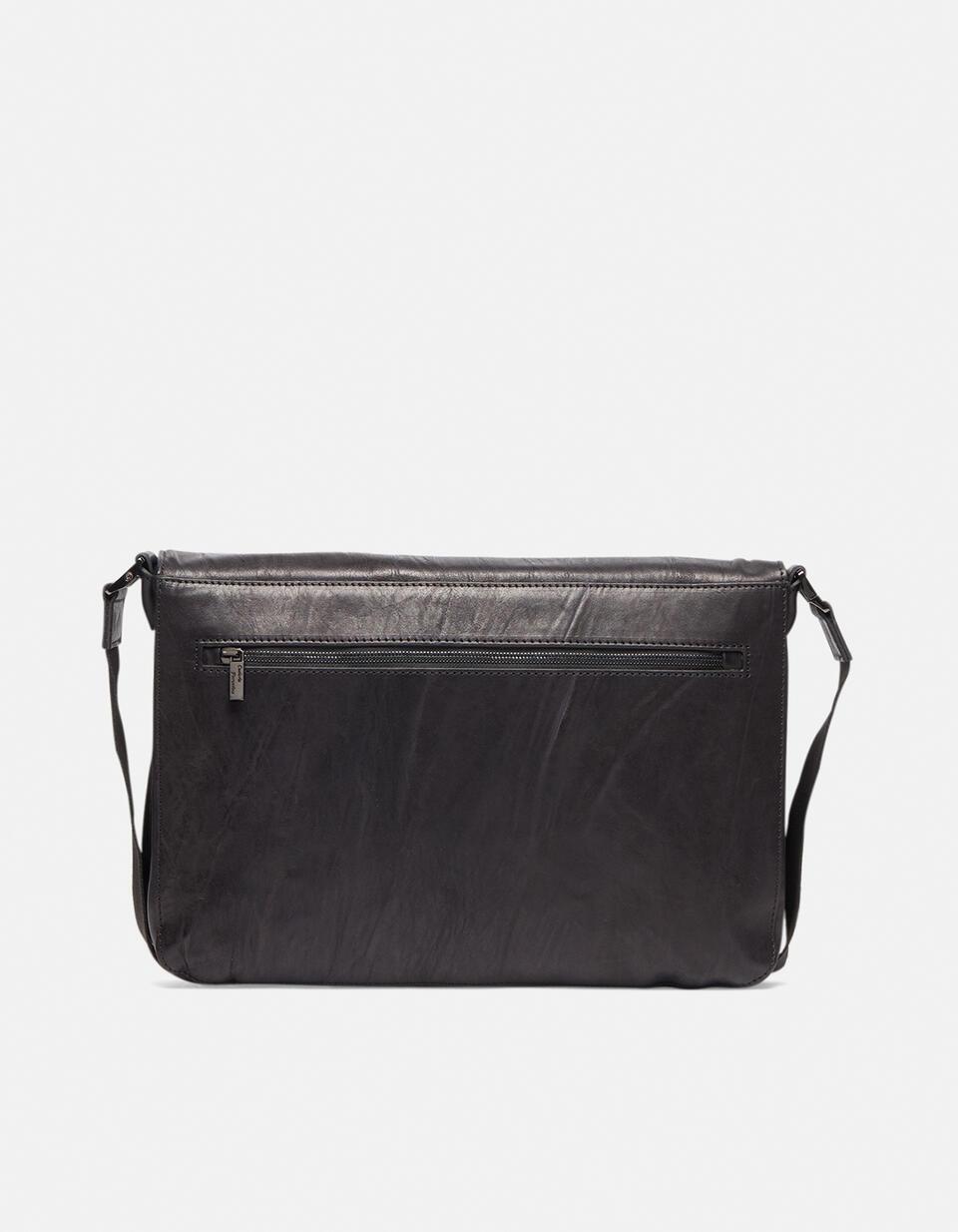 Bourbon leather large messenger bag in delavé leather NERO Cuoieria Fiorentina