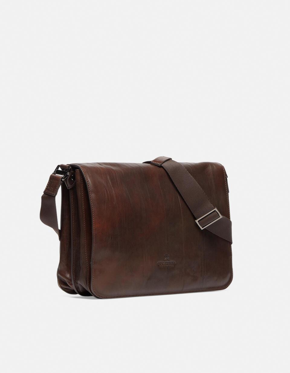Bourbon leather large messenger bag in delavé leather TESTA DI MORO Cuoieria Fiorentina