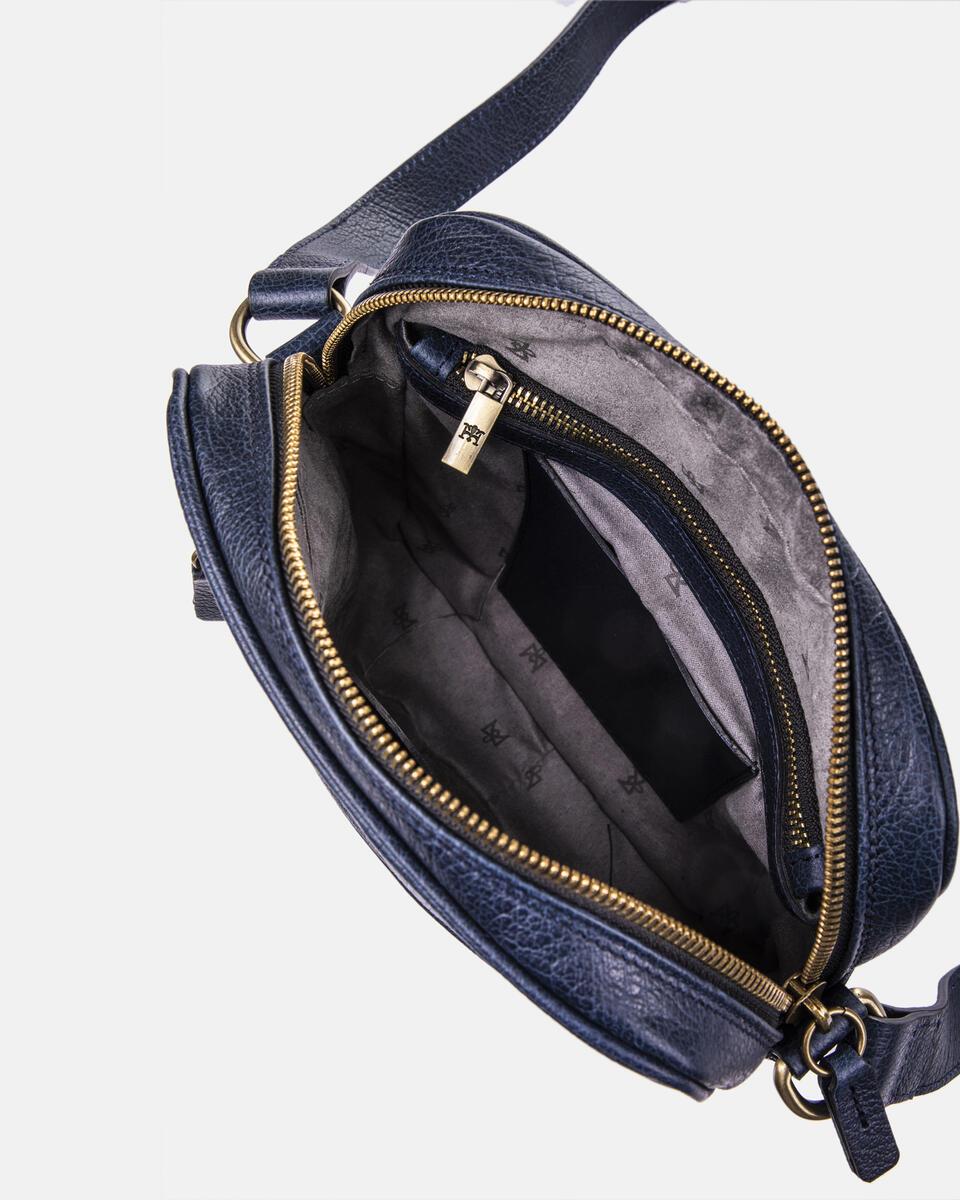 Tracolla con zip frontale BLU Cuoieria Fiorentina