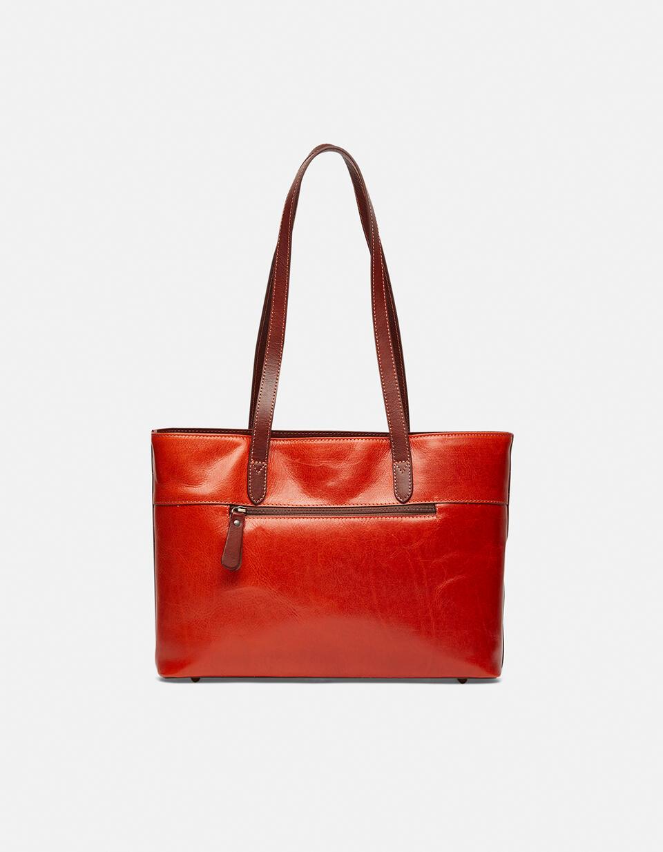 Warm and Colour large leather shopping bag ARANCIOBICOLORE Cuoieria Fiorentina