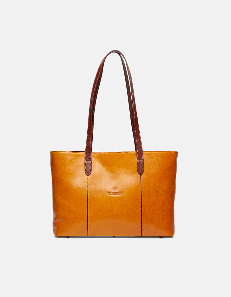 Warm and Colour large leather shopping bag GIALLOBICOLORE Cuoieria Fiorentina