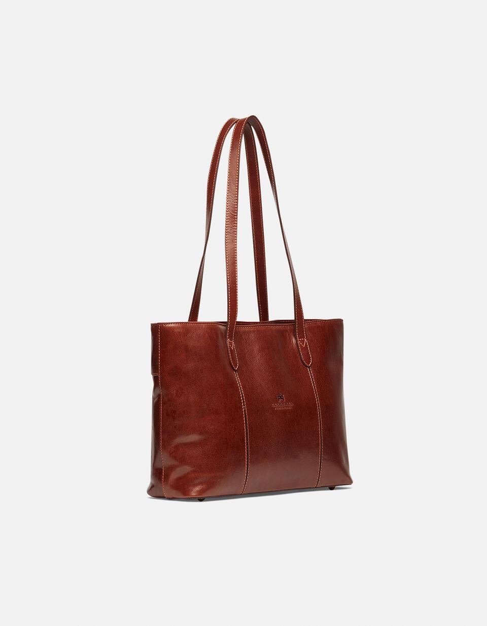 Warm and Colour large leather shopping bag MARRONE Cuoieria Fiorentina