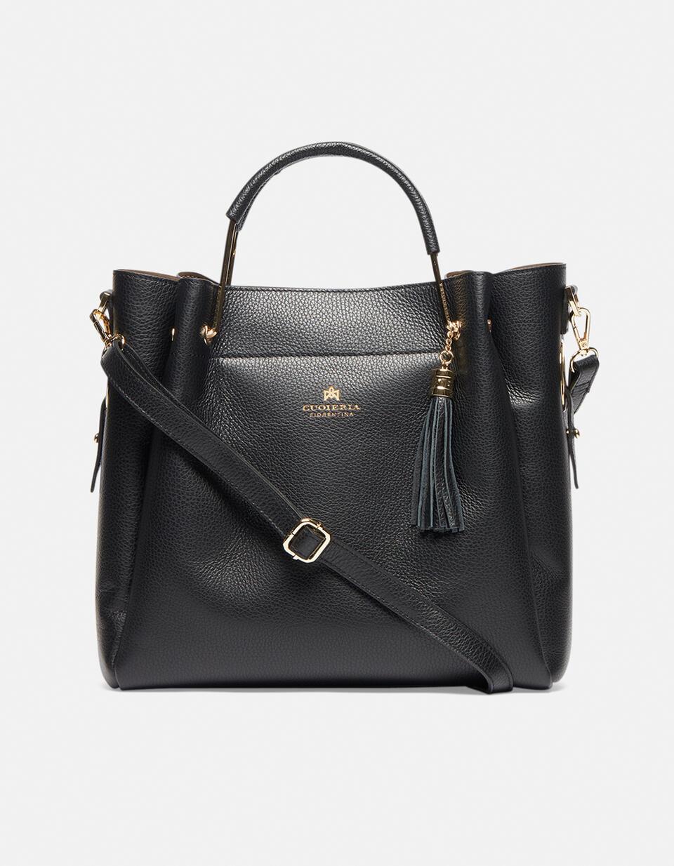 Hand bag in hammered calf leather NERO Cuoieria Fiorentina