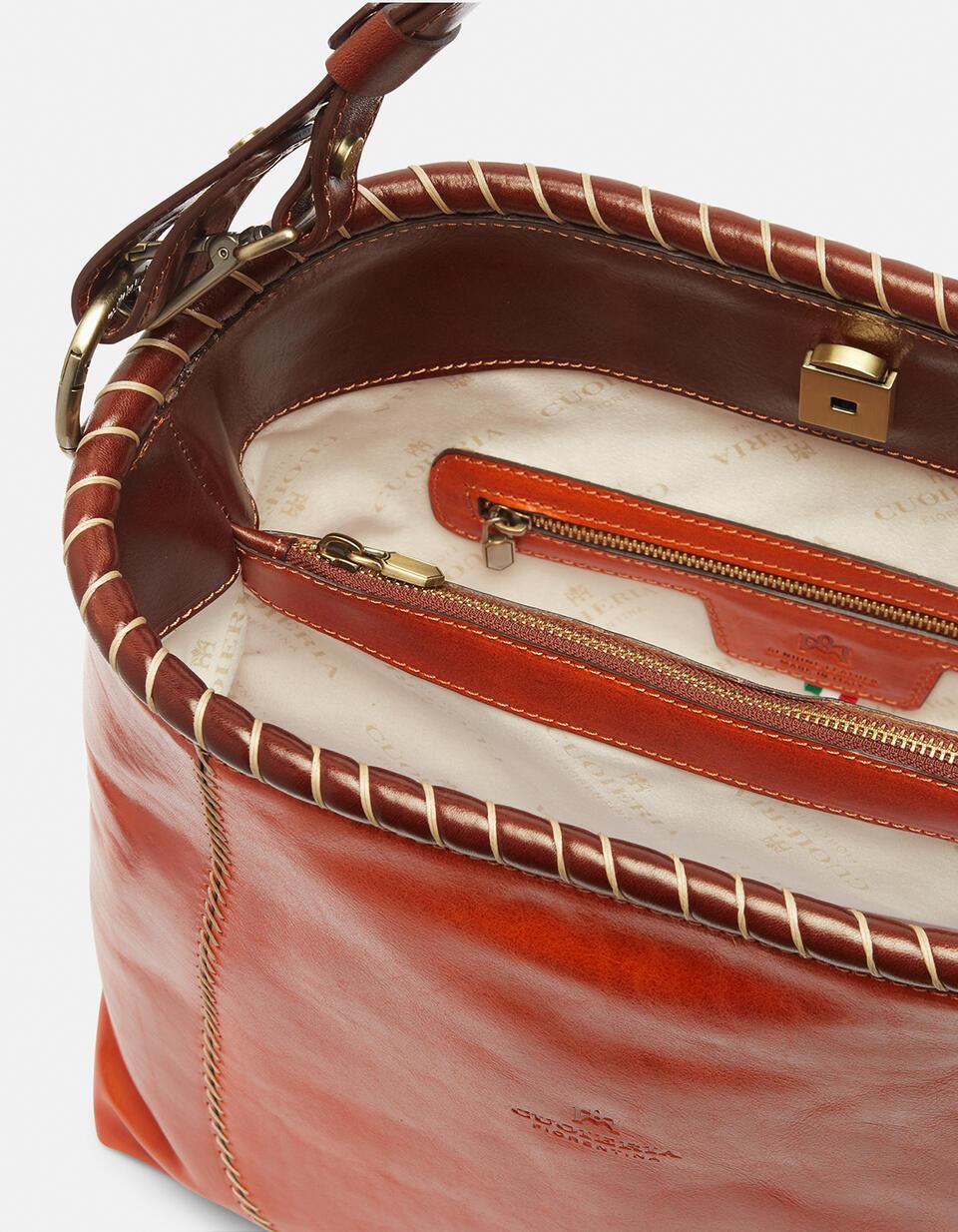 Warm and Colour hand-stitched shoulder bag ARANCIOBICOLORE Cuoieria Fiorentina