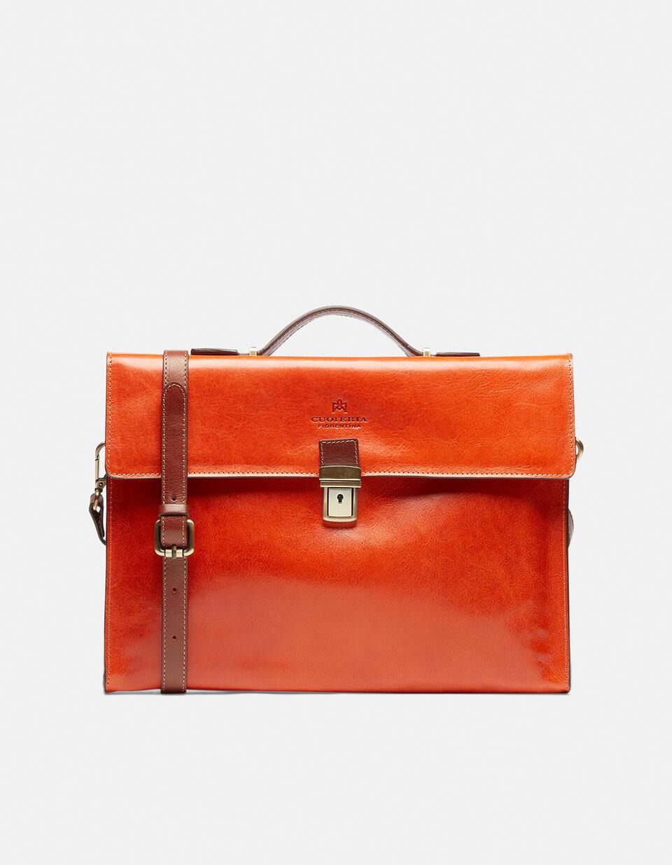 Warm and Colour leather briefcase with side zips ARANCIOBICOLORE Cuoieria Fiorentina