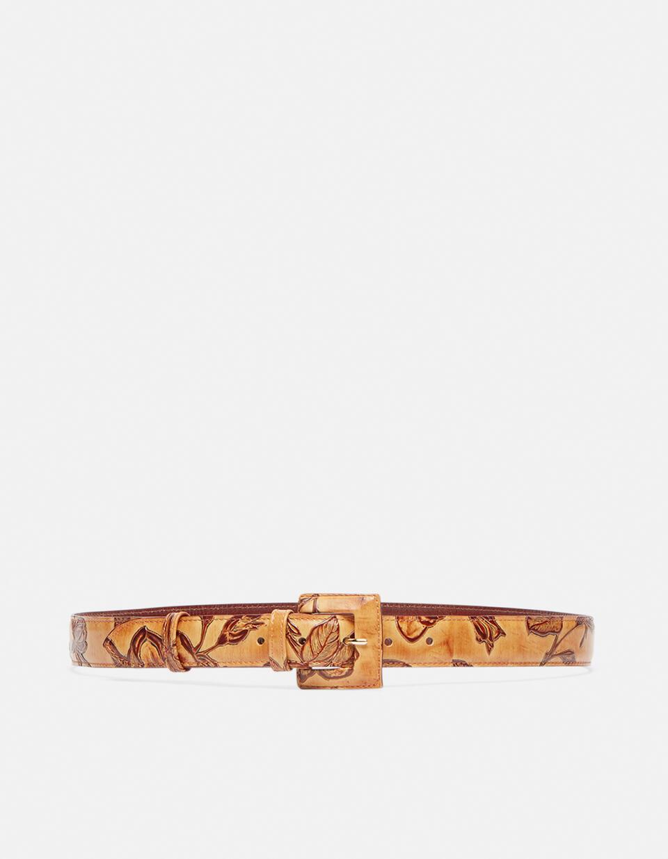 Cintura Mimì da donna media in pelle stampata a rose con fibbia fasciata Mimì BEIGE Cuoieria Fiorentina