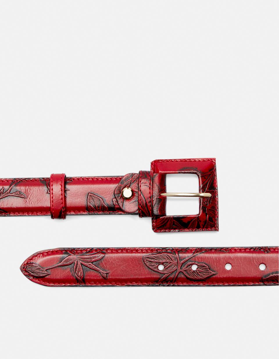 Cintura Mimì da donna media in pelle stampata a rose con fibbia fasciata ROSSO Cuoieria Fiorentina