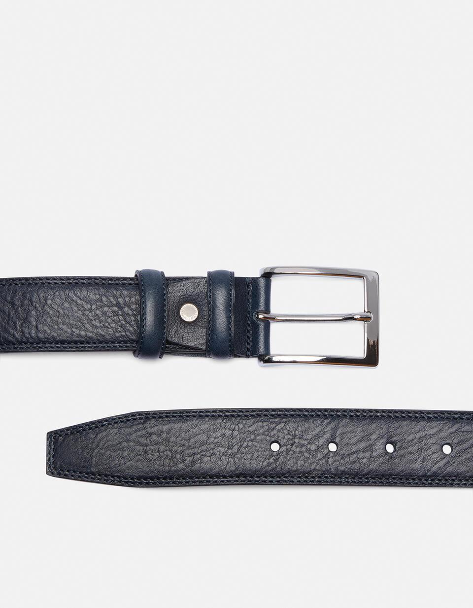 Elegant Leather Belt BLU Cuoieria Fiorentina