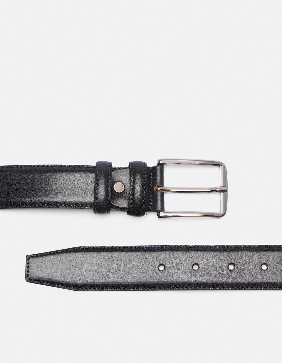 Elegant Leather Belt with squared buckle height, 3,5 cm BLU Cuoieria Fiorentina