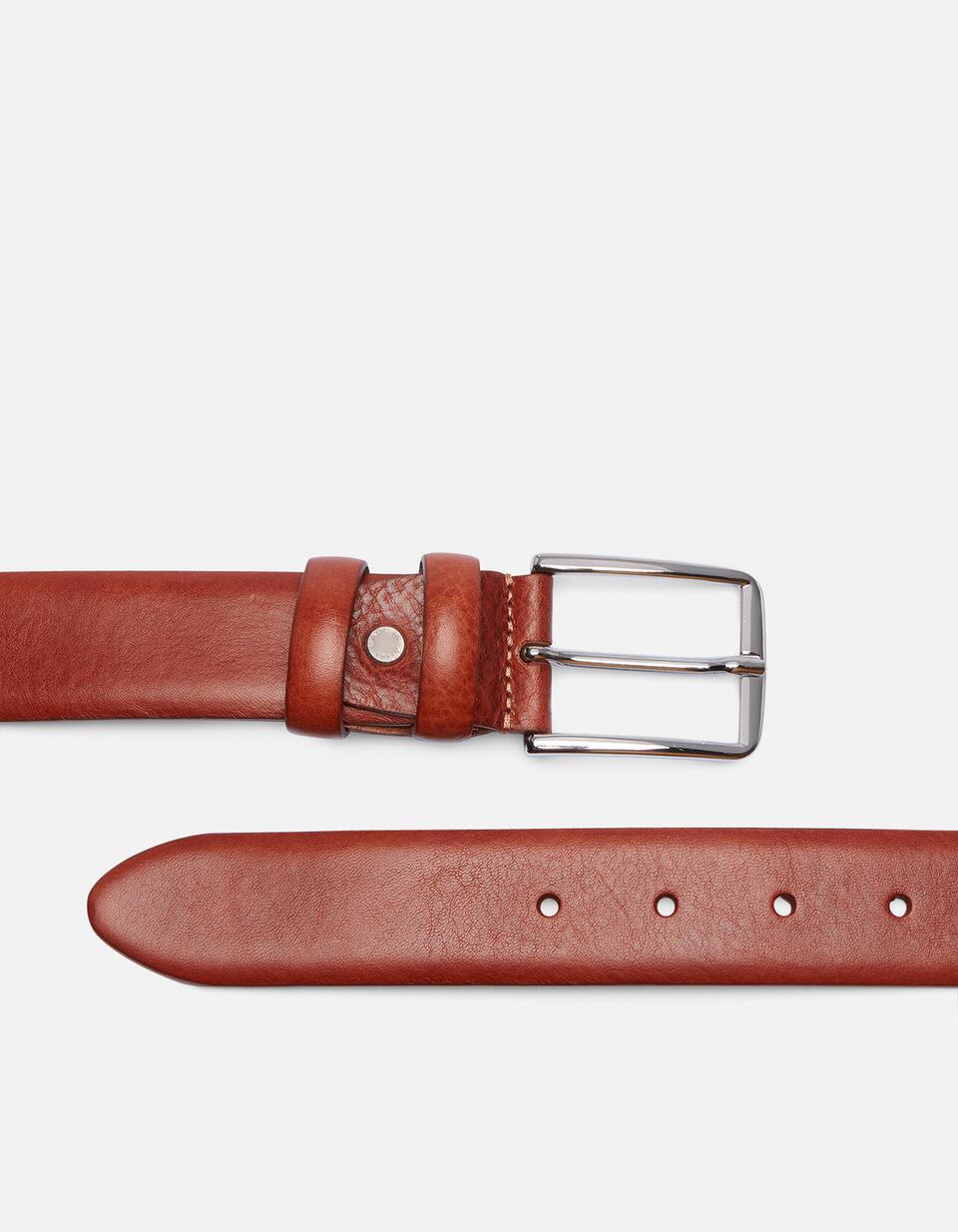 Cintura Classica in pelle con cucitura a contrasto MARRONE Cuoieria Fiorentina