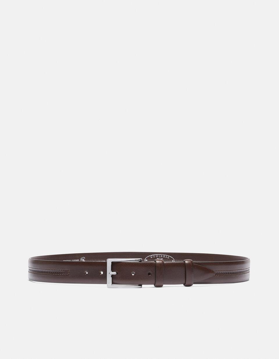 Cintura Classica in cuoio doppia cucitura centrale a contrasto TESTA DI MORO Cuoieria Fiorentina
