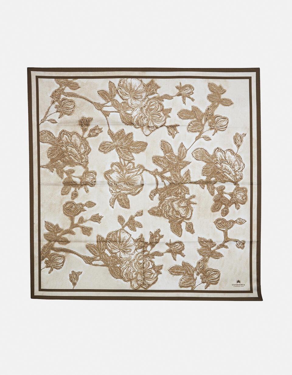 Twill scarf 100% pure silk printed Mimi' 90x90cm TAUPETESTA DI MORO Cuoieria Fiorentina