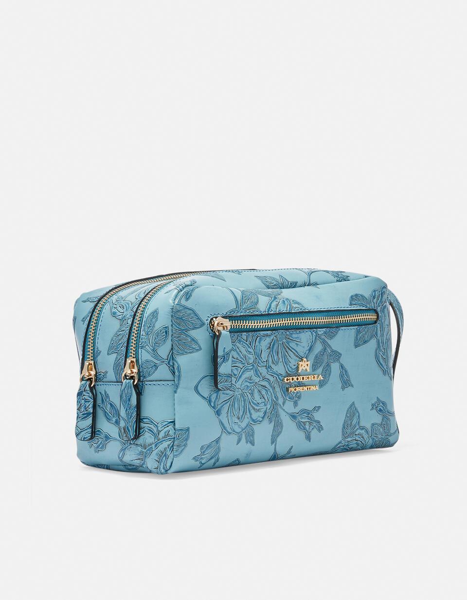 Classic Mimì beauty case with two compartments Mimì CELESTE Cuoieria Fiorentina