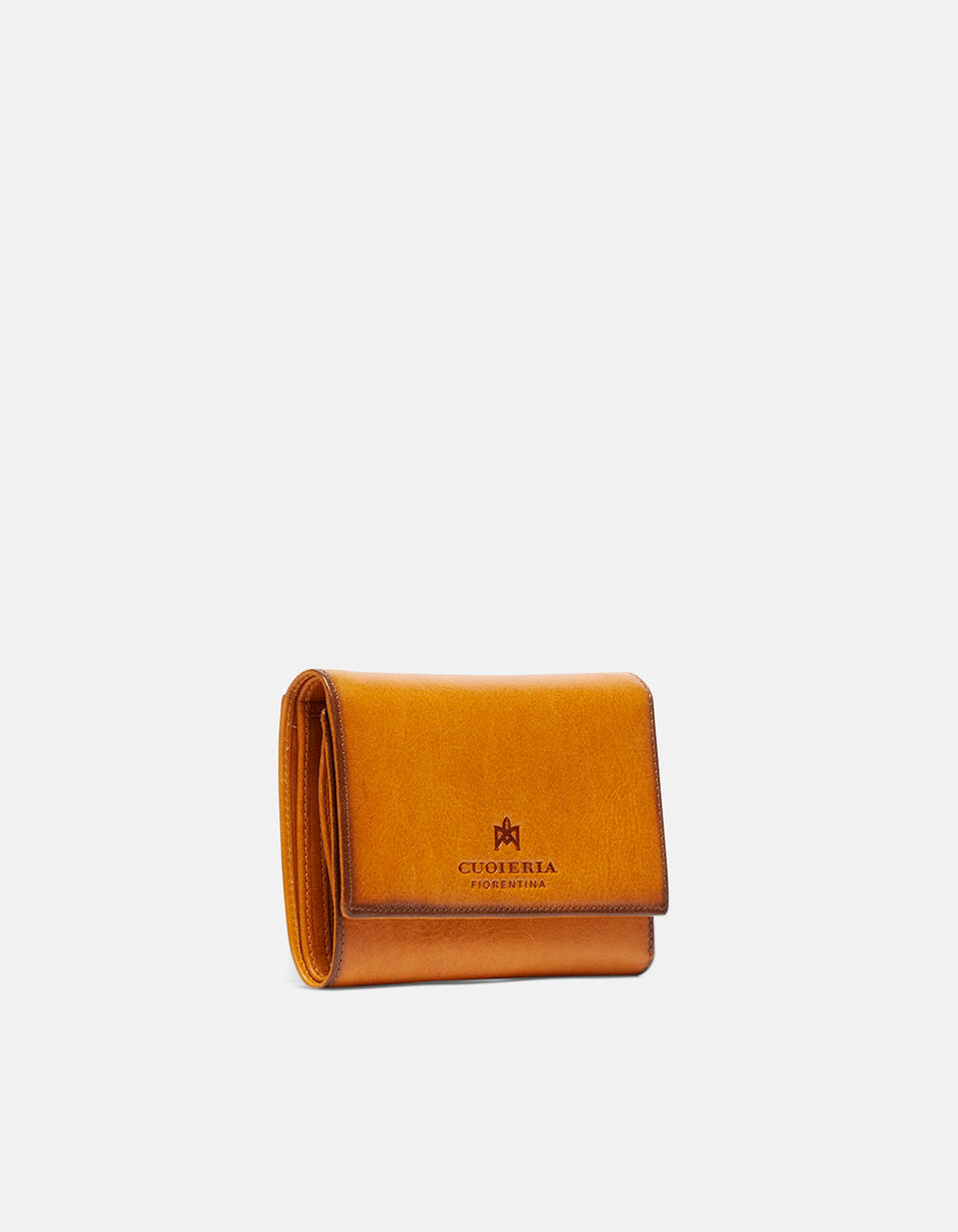Warm and colour portafoglio medio anti-rfid in cuoio bifold con bordo effetto bruciato GIALLO Cuoieria Fiorentina
