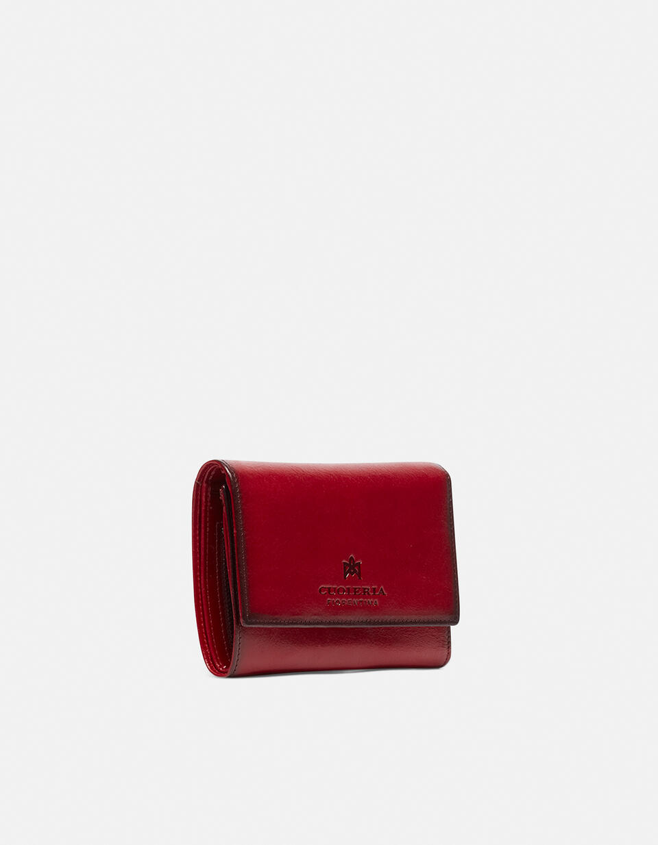 Warm and colour portafoglio medio anti-rfid in cuoio bifold con bordo effetto bruciato ROSSO Cuoieria Fiorentina