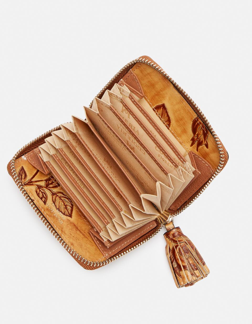 Mini accordion wallet in rose embossed printed leather Mimì BEIGE Cuoieria Fiorentina
