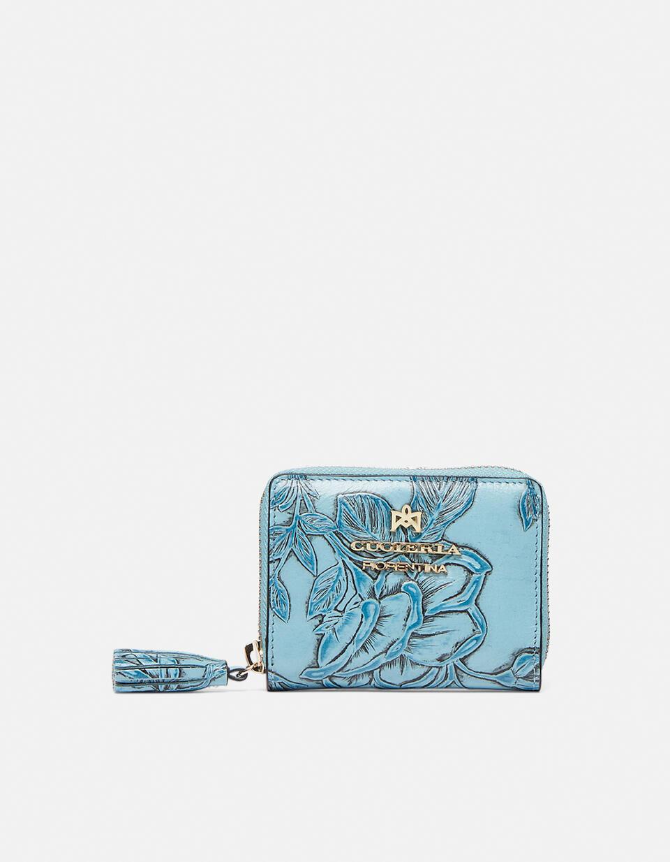 Mini accordion wallet in rose embossed printed leather Mimì CELESTE Cuoieria Fiorentina