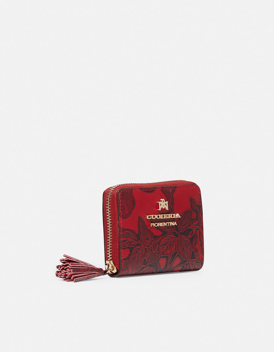 Mini accordion wallet in rose embossed printed leather ROSSO Cuoieria Fiorentina