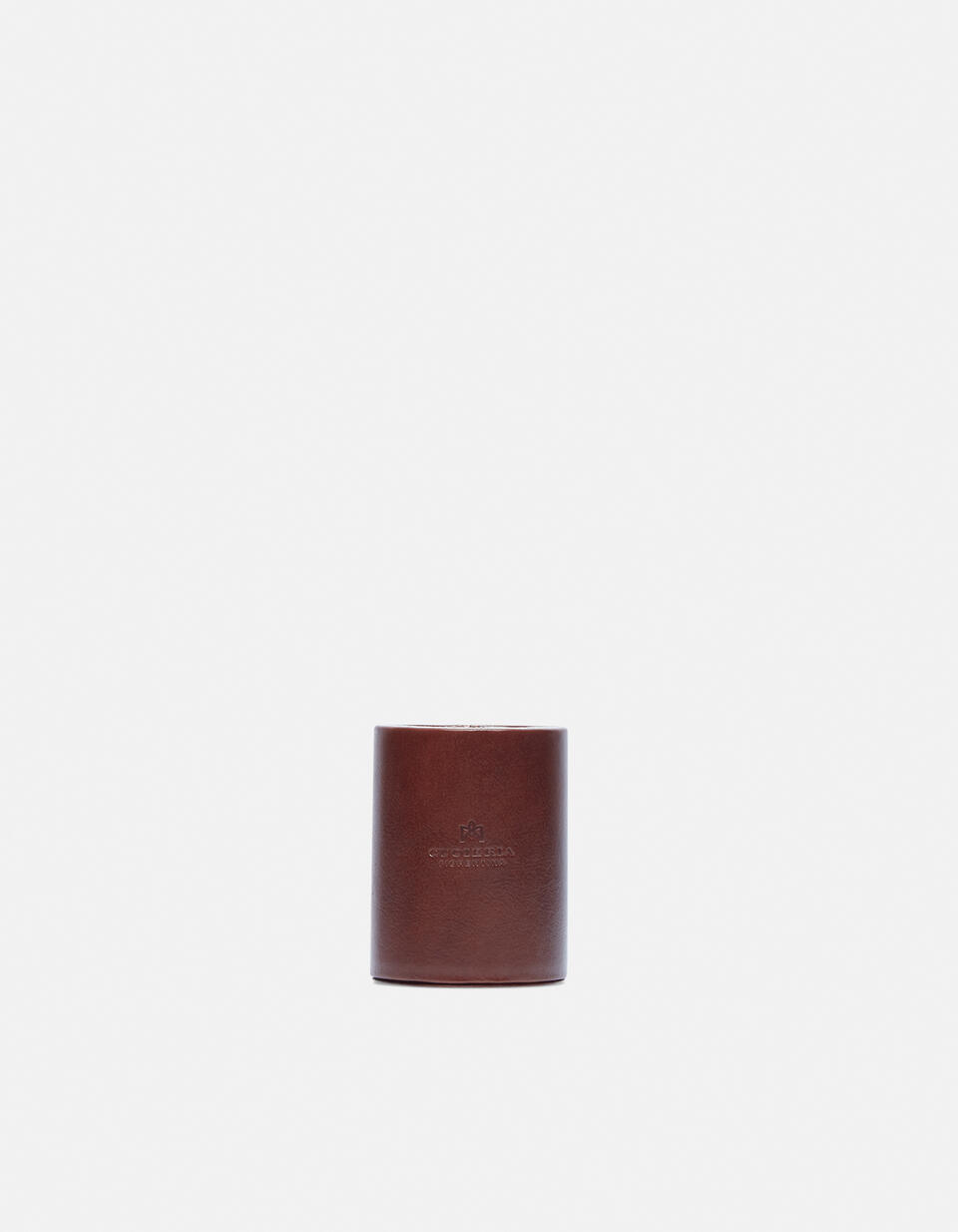 Round pen holder in vegetable tanned leather MARRONE Cuoieria Fiorentina