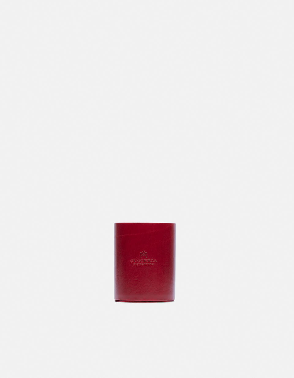 Round pen holder in vegetable tanned leather ROSSO Cuoieria Fiorentina