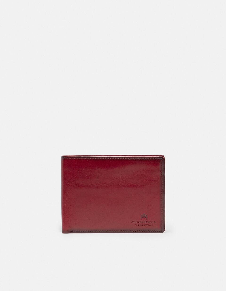 Portafoglio Warm and Colour anti-rfid con porta monete in cuoio ROSSO Cuoieria Fiorentina
