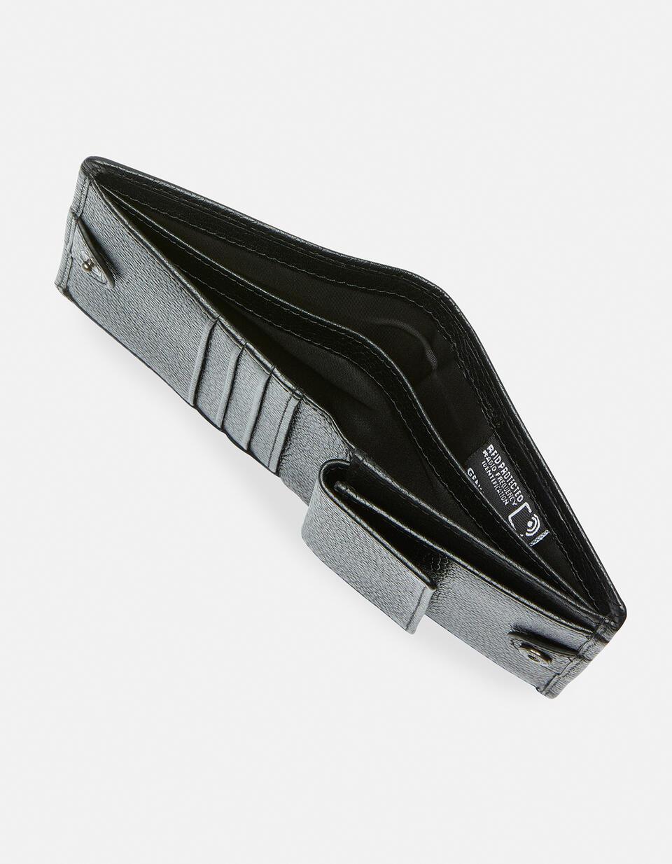 Anti-Rfid vertical wallet with coin purse in printed calf grained NERO Cuoieria Fiorentina
