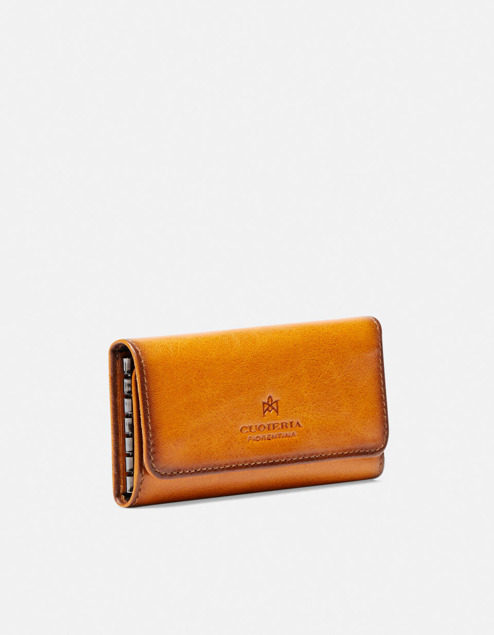 Warm and leather book keyring in leather GIALLO Cuoieria Fiorentina