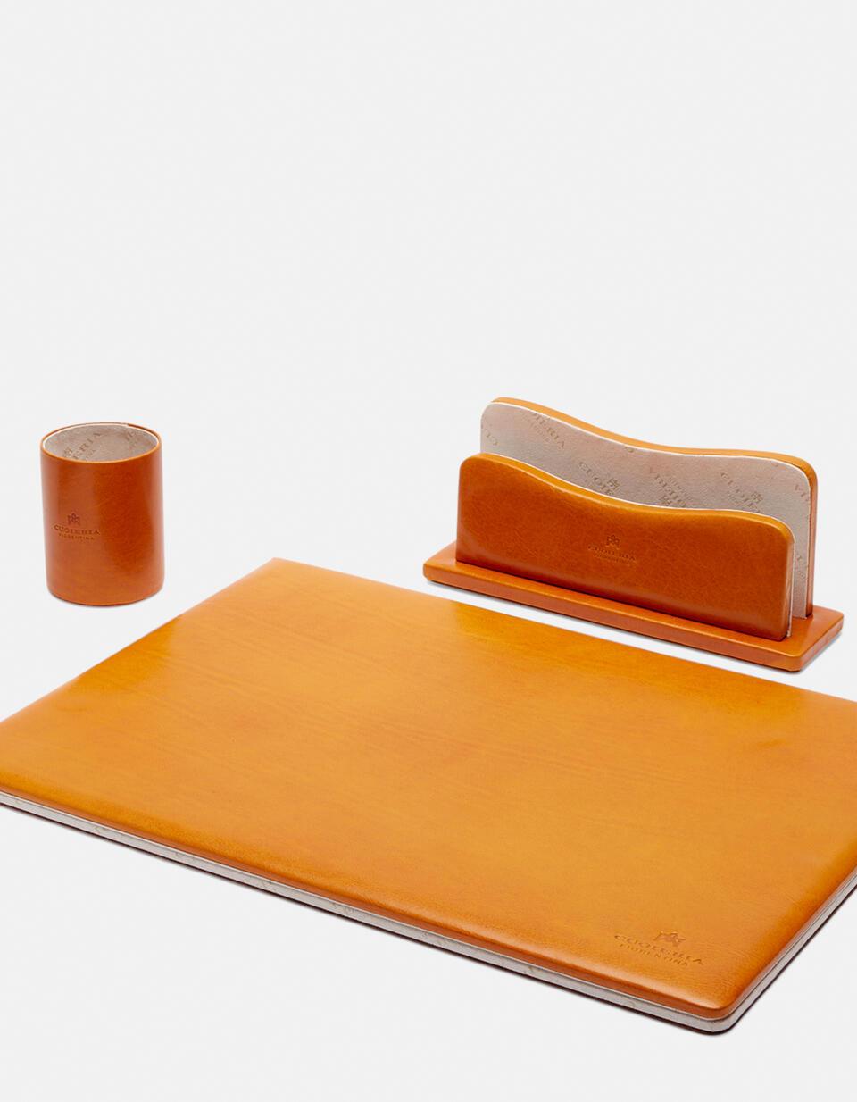 Complete desk set in vegetable leather GIALLO Cuoieria Fiorentina